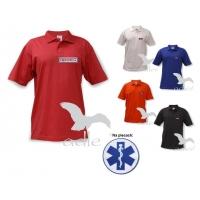 OUTLET Polo - haftowane emblematy LEKARZ czerwone rozmiar L